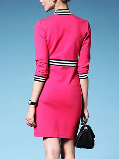 Pink Black and White Slim Contrast Linking Over-Hip Stand Collar Zipper Furcal Front Sheath Above Knee Dress for Casual Office
