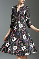 Black Red and White Plus Size Slim Printed A-Line V Neck Buttons Floral Above Knee Dress for Casual