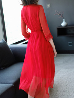 Red Slim Lace V Neck Adjustable Waist Midi Dress for Casual Party