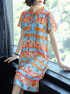 Blue and Orange Colorful Plus Size H-Shaped Printed Band Belt Furcal Side Knee Length Dress for Casual