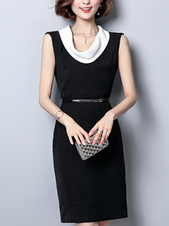 Black and White Plus Size Slim Contrast Linking Over-Hip Furcal Back Sheath Knee Length Dress for Casual Office