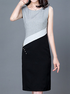 Grey Black and White Plus Size Slim Contrast Round Neck Over-Hip Diamond Sheath Knee Length Dress for Casual Office