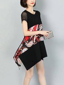 Black Red and White Plus Size Loose Round Neck Located Printing Asymmetrical Hem Above Knee Dress for Casual Party
