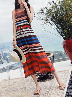 Colorful Slim A-Line Contrast Stripe Adjustable Waist Band Belt Round Neck Midi Dress for Casual Beach