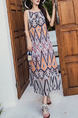 Colorful Loose Sling A-Line Printed Round Neck Band Midi Dress for Casual Beach
