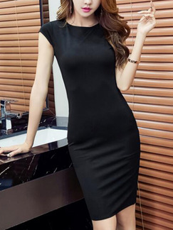 Black Slim Round Neck Over-Hip Furcal Zipper Back Bodycon Above Knee Dress for Casual Party Evening Office