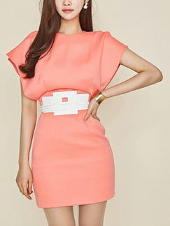 Pink Slim Over-Hip Round Neck Zipper Back Open Sleeve Above Knee Dress for Casual Party