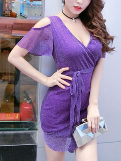 Purple Slim Deep V Neck Off-Shoulder Over-Hip Band Belt Ruffle Asymmetrical Hem Above Knee Dress for Cocktail Party