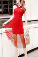 Red Slim Linking Mesh Over-Hip See-Through Hang Neck Open Back Midi Dress for Cocktail Party