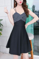 Black and White Slim A-Line Linking Stripe Sling Strapless Open Back Above Knee Fit & Flare Dress for Casual Party