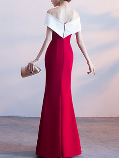 Red and White Slim Contrast Cross Boat Collar Open Back Over-Hip Furcal Front Maxi Dress for Evening Cocktail Prom