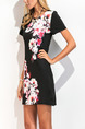 Black White and Pink Plus Size Slim A-Line Round Neck Located Printing Shift Above Knee Dress for Casual Party