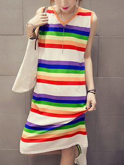 Colorful Plus Size Slim H-Shaped Contrast Stripe V Neck Shift Knee Length Dress for Casual Party