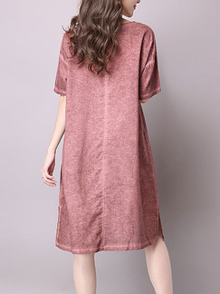 Red Plus Size Loose Round Neck Located Printing Furcal Side Pockets Shift Knee Length Dress for Casual