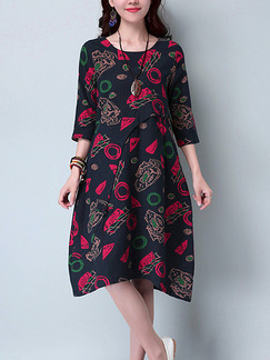 Black Red and Green Plus Size Loose A-Line Printed Round Neck Invisible Pockets Shift Knee Length Dress for Casual