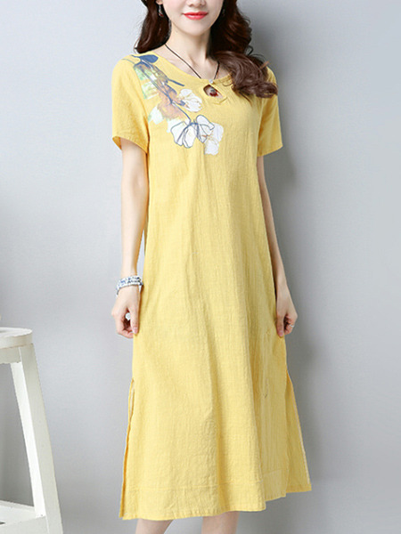 Yellow Plus Size Loose A-Line Round Neck Located Printing Furcal Side Shift Midi Dress for Casual