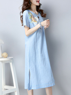 Blue Plus Size Loose A-Line Round Neck Located Printing Furcal Side Shift Midi Dress for Casual