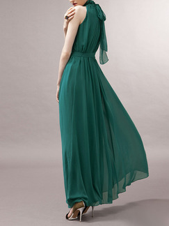 Green Bohemian Chiffon Pleated Hang Neck Band Belt Back Laced Stand Collar Double Layer Full Skirt Maxi Halter Dress for Evening Party