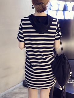Black and White Plus Size Loose H-Shaped Contrast Stripe Hooded Drawstrings Pockets Shift Above Knee Dress for Casual