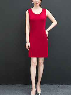 Red Slim H-Shaped Round Neck Over-Hip Sheath Above Knee Dress for Party Evening Office