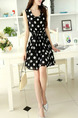 Black and White Polka Dot Chiffon Plus Size Slim A-Line Contrast Wave Point Band Heap Collar Above Knee Dress for Casual Party