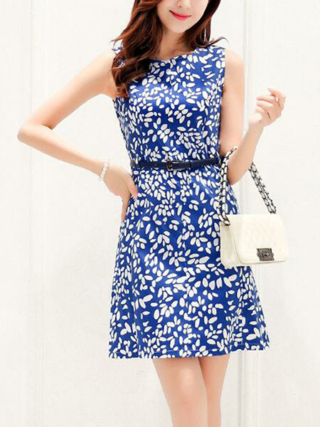 Blue and White Plus Size Slim A-Line Printed Round Neck Above Knee Dress for Casual Party