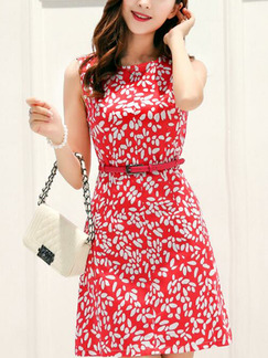 Red and White Plus Size Slim A-Line Printed Round Neck Above Knee Dress for Casual Party