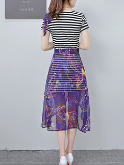 Black and White Purple Two-Piece Slim A-Line Contrast Stripe V Neck Bandages Printed See-Through Asymmetrical Hem Knee Length Dress for Casual