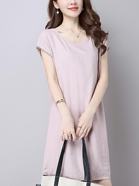 Pink Plus Size Slim A-Line Round Neck Linking Tassel Shift Above Knee Dress for Casual