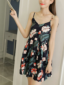 Colorful Loose A-Line Printed Sling V Neck Open Back Fold Floral Slip Above Knee Dress for Casual Party