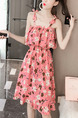 Pink Chiffon Slim A-Line Printed Off-Shoulder Band Belt Cloak Ruffle Adjustable Waist Slip Above Knee  Dress for Casual Party