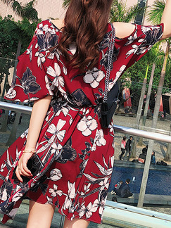 Red Black and White Chiffon Plus Size Loose A-Line Printed Off-Shoulder V Neck Flare Sleeve Above Knee Floral Dress for Casual Party