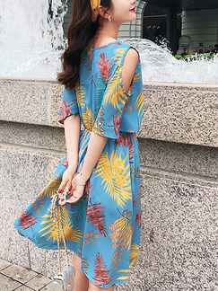 Blue Colorful Chiffon Plus Size Loose A-Line Printed Off-Shoulder V Neck Flare Sleeve Above Knee Dress for Casual Party