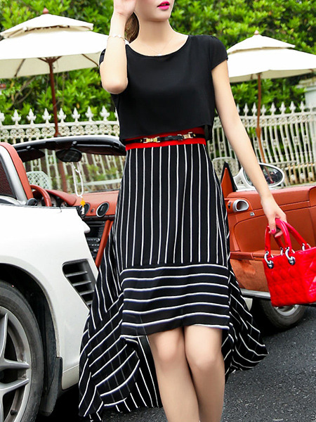 Black and White Two-Piece Slim Round Neck Furcal Back Contrast Stripe Asymmetrical Hem Dress for Casual Party