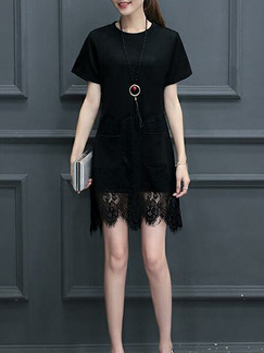 Black Plus Size Slim A-Line Round Neck Linking Lace Pockets Above Knee Shift Dress for Casual Party Nightclub