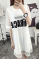 White Two-Piece Plus Size Loose Letter Printed Mesh See-Through Knee Length Dress for Casual