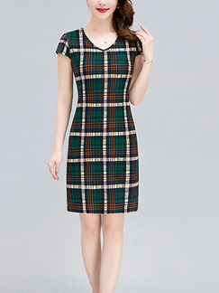 Brown and Green Plus Size Slim Contrast Grid V Neck Over-Hip Sheath Above Knee Dress for Casual Party Office