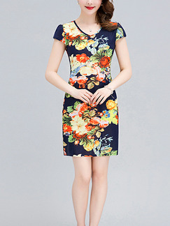 Blue Colorful Plus Size Slim Contrast Printed V Neck Over-Hip Sheath Above Knee Floral Dress for Casual Party
