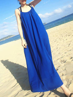 Blue Chiffon Loose Sling Open Back Maxi Shift Dress for Casual Beach