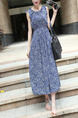 Blue Plus Size Slim Floral Round Neck Adjustable Waist Band Shoulder Midi Dress for Casual Party Office