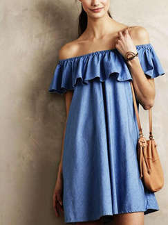 Blue Denim Loose Off-Shoulder Ruffle Above Knee Shift Dress for Casual Party