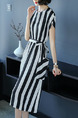 Black and White Plus Size Slim Contrast Stripe Round Neck Band Pockets Knee Length Dress for Casual Office