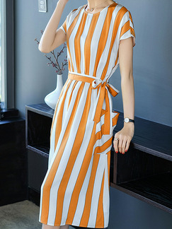 Orange and White Plus Size Slim Contrast Stripe Round Neck Band Belt Pockets Knee Length Dress for Casual Office