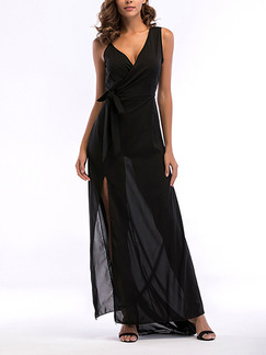 Black Chiffon Slim Sling V Neck Furcal Side Maxi Dress for Cocktail Party Evening