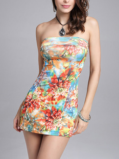 Colorful Plus Size Slim Printed Wrapped Chest Over-Hip Above Knee Strapless Bodycon Dress for Casual Party Nightclub