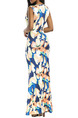 Colorful Slim Printed Deep V Neck High Waist Furcal Over-Hip Floral Maxi Dress for Party Evening Cocktail