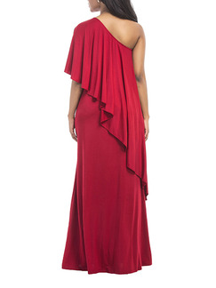 Red Plus Size Loose Off-Shoulder Pleated Cloak Maxi One Shoulder Dress for Party Evening Cocktail
