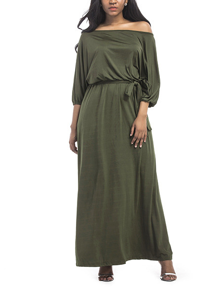 Green Plus Size Loose Off-Shoulder Adjustable Waist Band Maxi Dress for Party Evening Cocktail