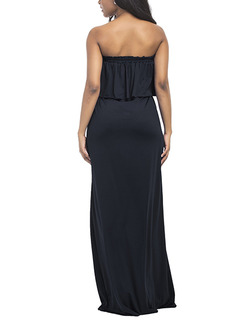 Black Plus Size Loose Wrapped Chest Off-Shoulder Open Back Cloak Adjustable Waist Band Belt Maxi Strapless Dress for Party Evening Cocktail