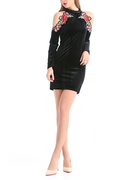 Black Velvet Slim High High Collar Embroidery Off-Shoulder Over-Hip Long Sleeve Bodycon Above Knee Floral Dress for Party Evening Cocktail Nightclub